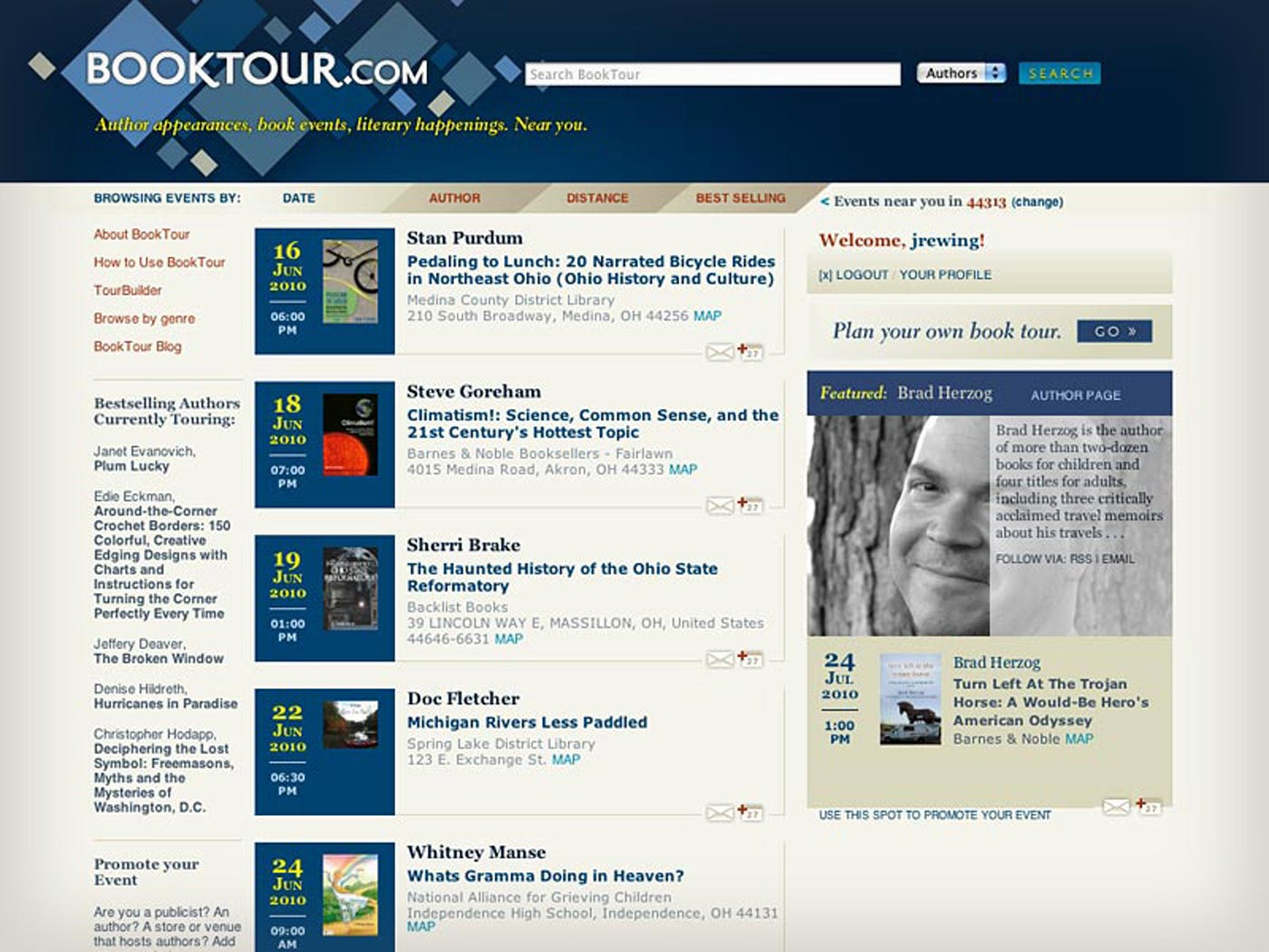 Booktour.com home page