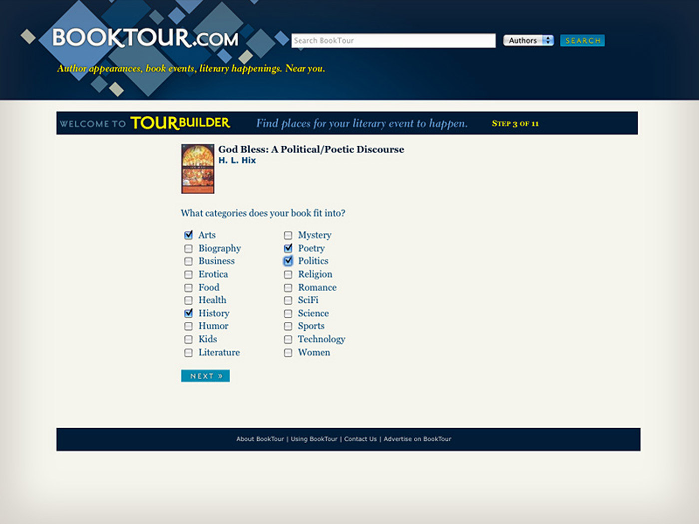 Booktour.com TourBuilder page
