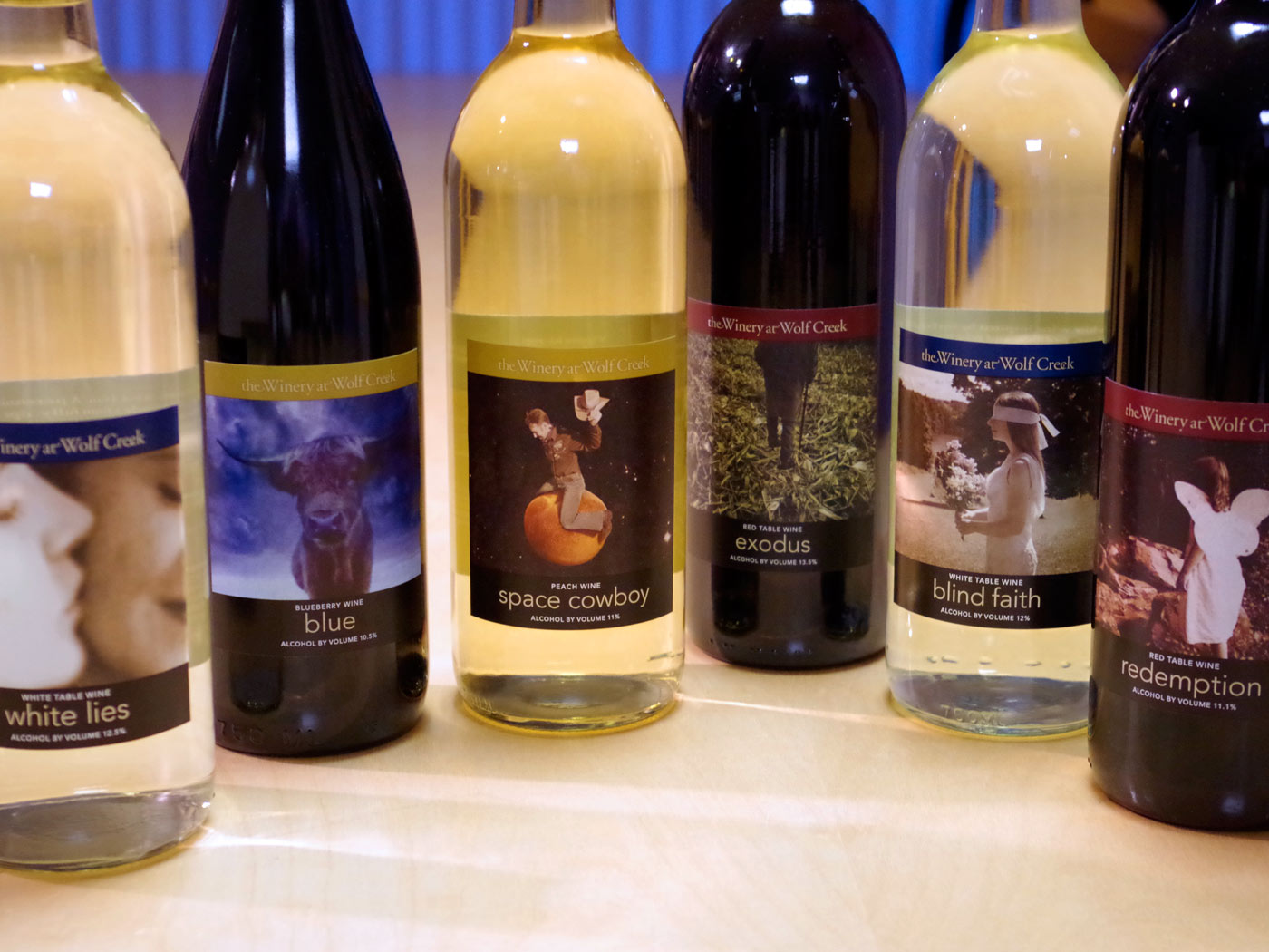 The Winery at Wolf Creek wine labels
