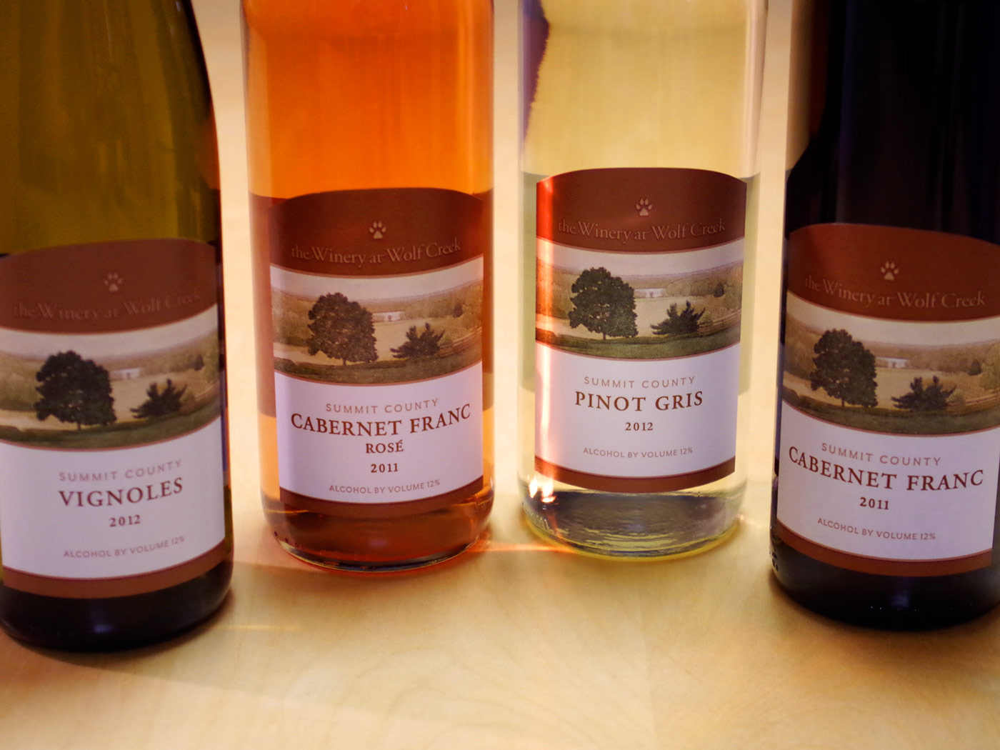 The Winery at Wolf Creek estate wine labels