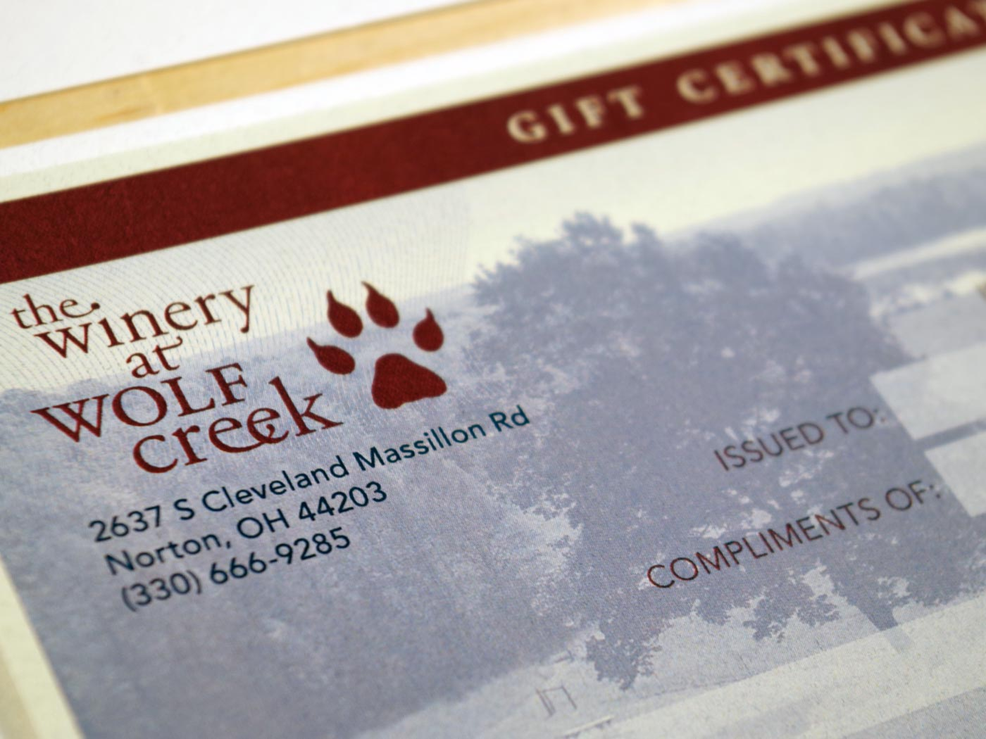 The Winery at Wolf Creek gift certificate