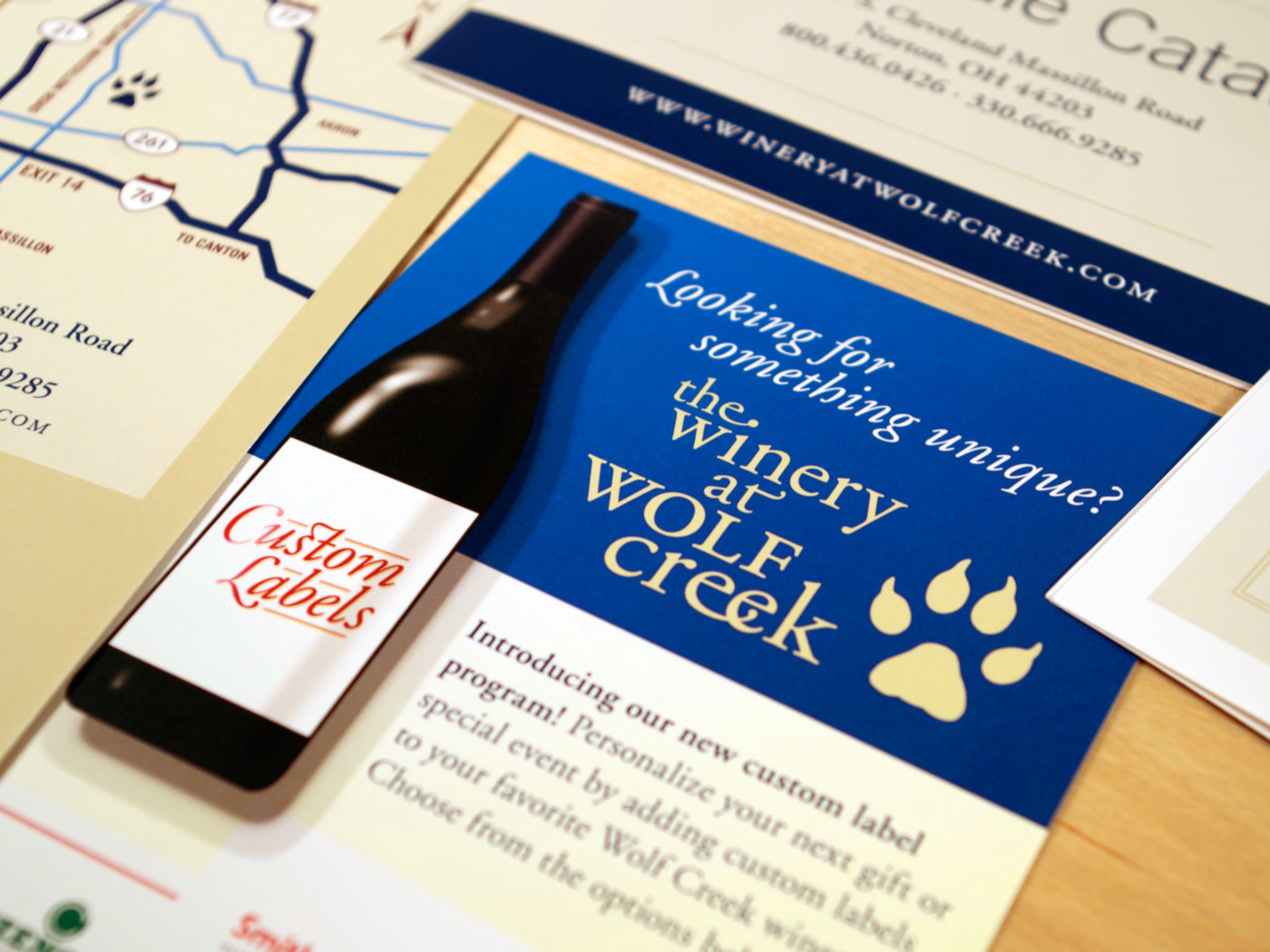 The Winery at Wolf Creek custom labels rack card